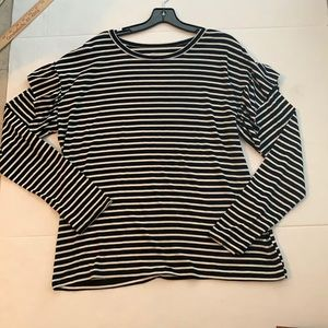 Time & true large striped long-sleeve tee